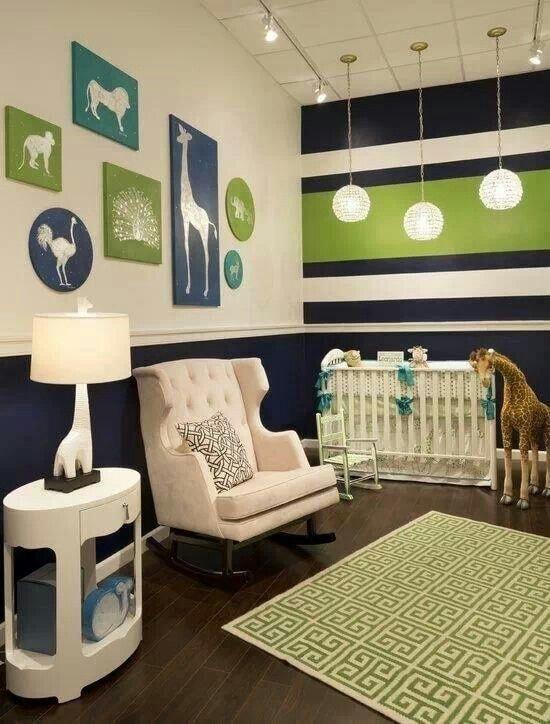 Chambre bébé vert et bleu