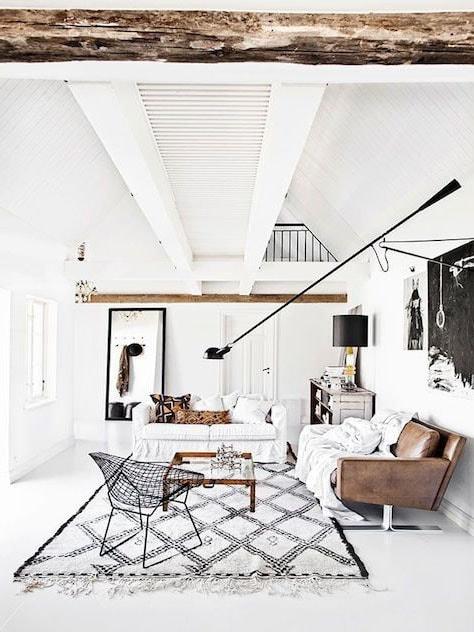 Salon blanc et bois style scandinave