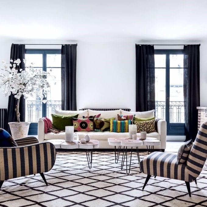 Salon marocain noir et blanc
