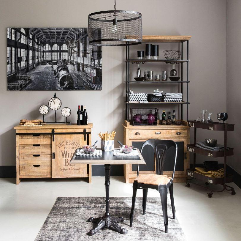 Chaise industrielle métal et bois