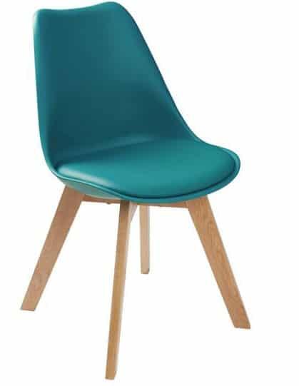 Chaise scandinave bleu pétrole