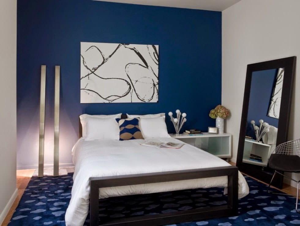 Chambre blanche et bleu