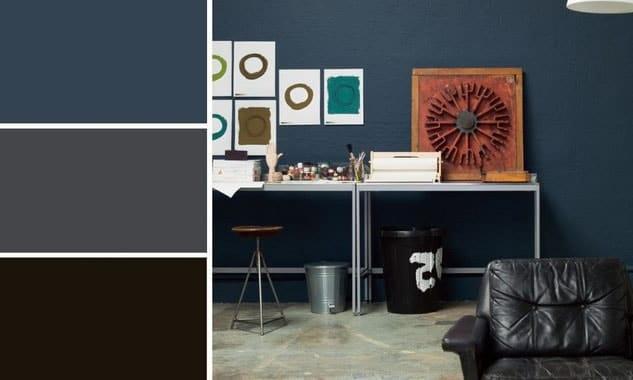 Chambre gris et bleu