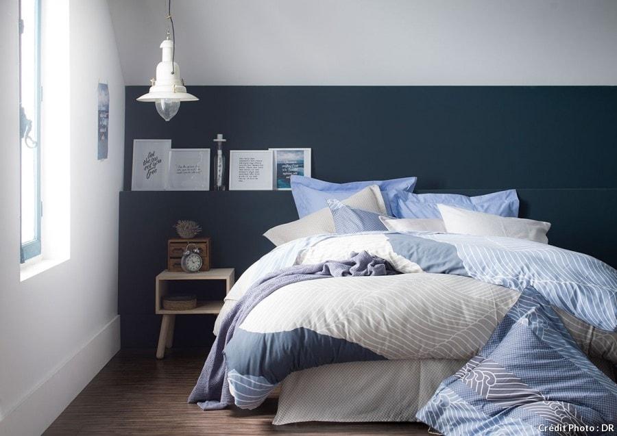 Chambre mur bleu foncé