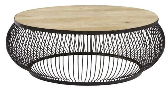 Grande table basse métal bois