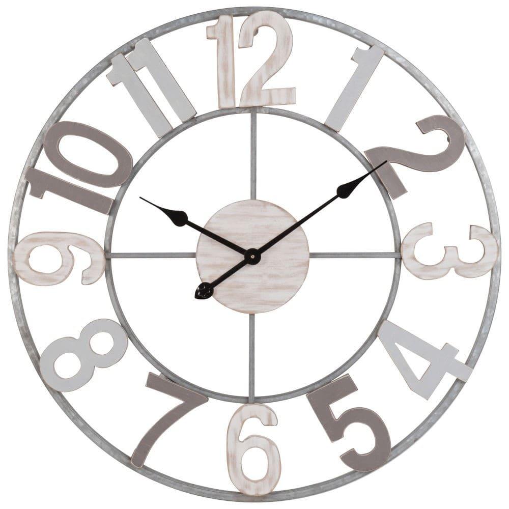 Horloge en métal gris et bois