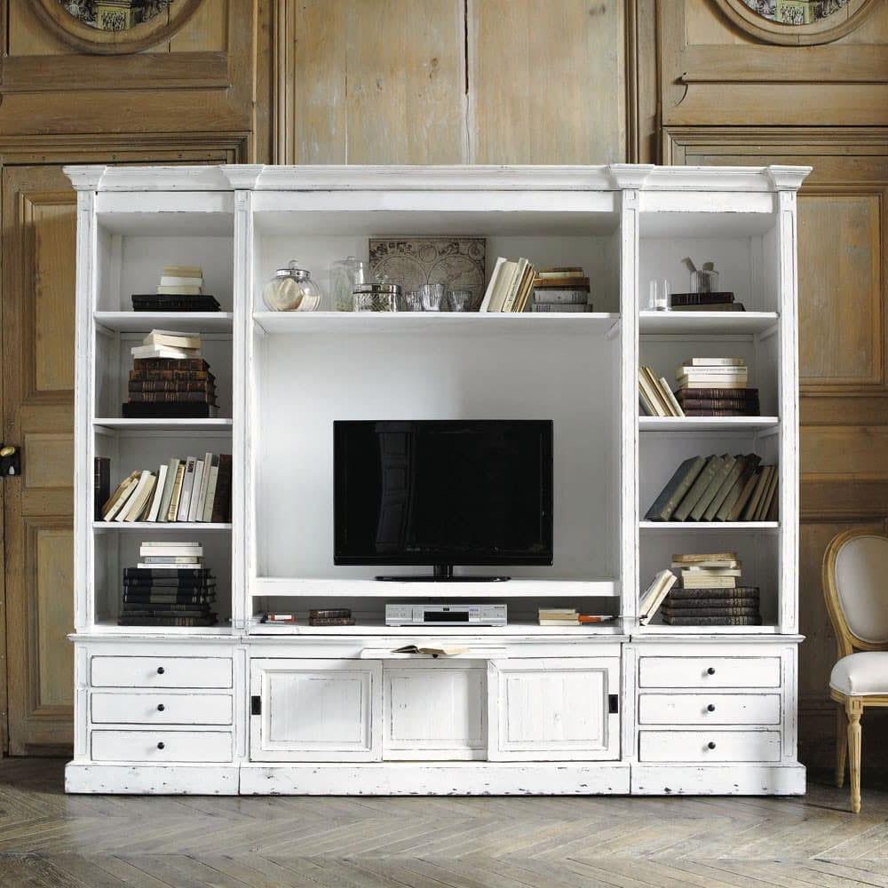 Meuble Tv Bibliothèque Blanc meubles tv maisons du monde : 21 modèles pour votre intérieur