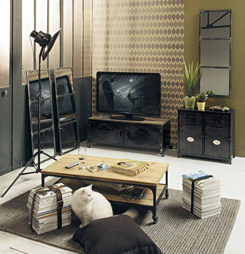 Meuble TV industriel à roulettes