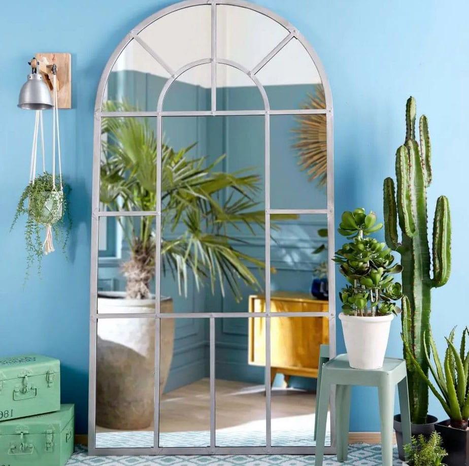 Miroir Fenêtre En Métal Gris