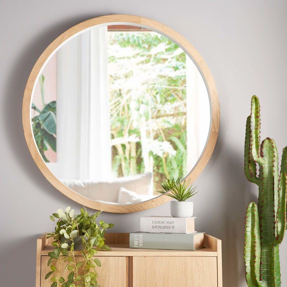 Miroir rond chêne
