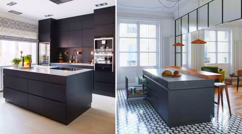 23 petites cuisines avec ilot central id es d. Black Bedroom Furniture Sets. Home Design Ideas