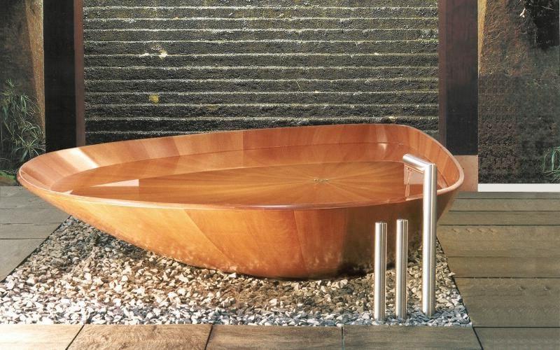 Baignoire bois forme pierre