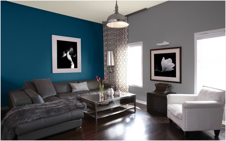 Bleu et gris au salon