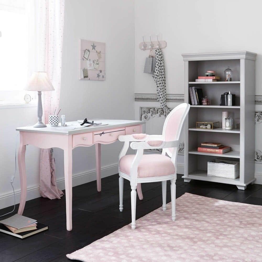 Bureau rose et gris