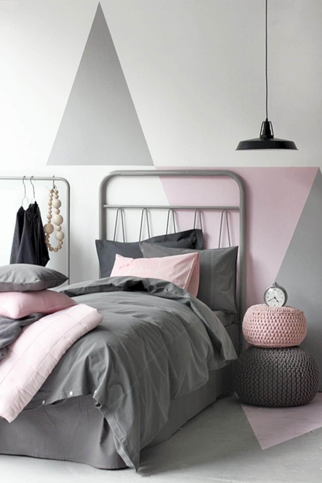 Chambre ado grise et rose