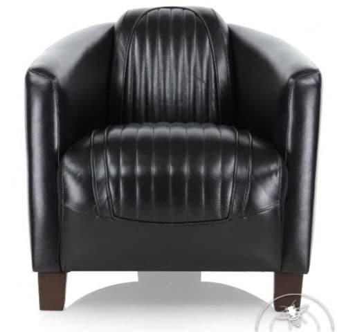 Fauteuil club cuir noir