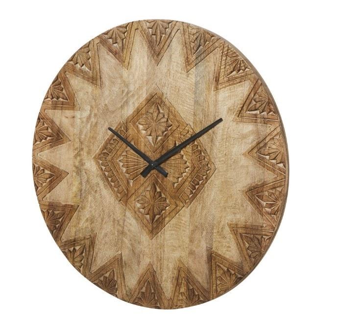 Horloge en manguier sculpté