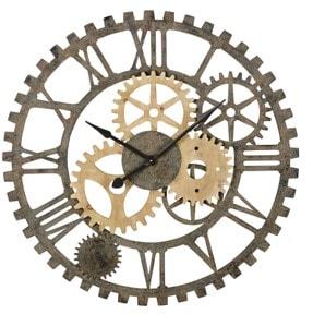 Horloge rouages bois et métal