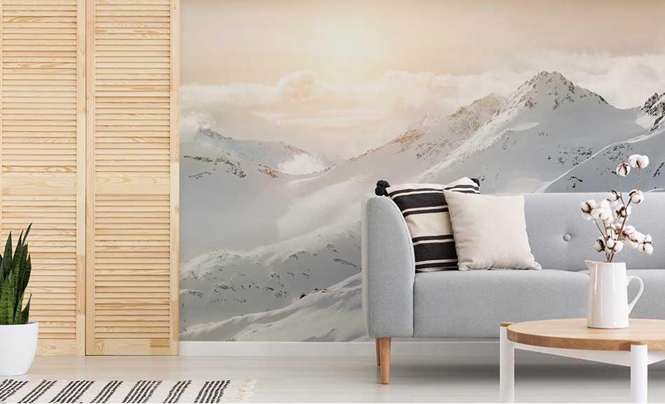 Papier peint montagne enneigée