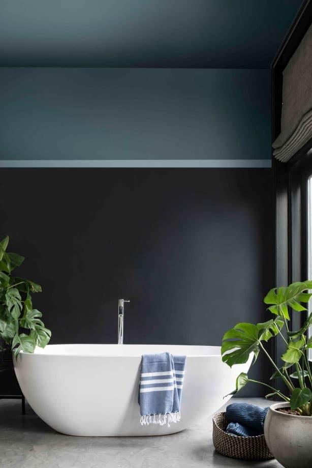 Salle de bain bleue et noire