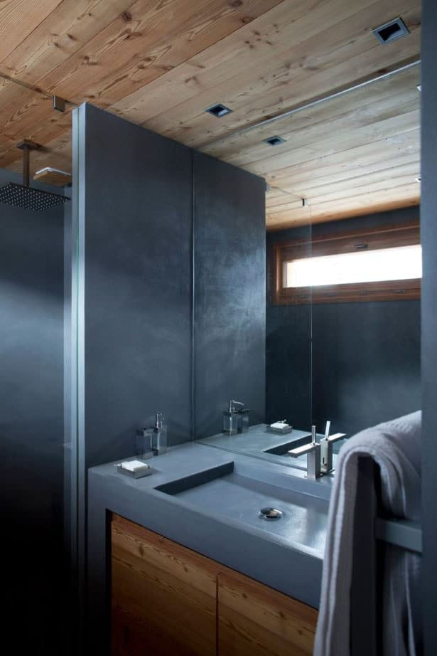 Salle de bain bois et béton
