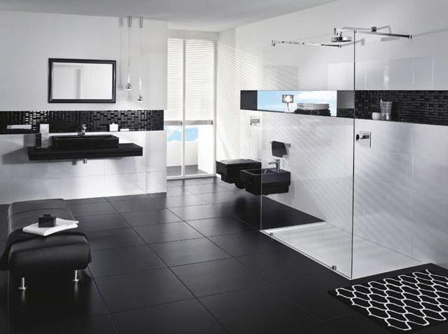 Salle de bain noire et blanche design