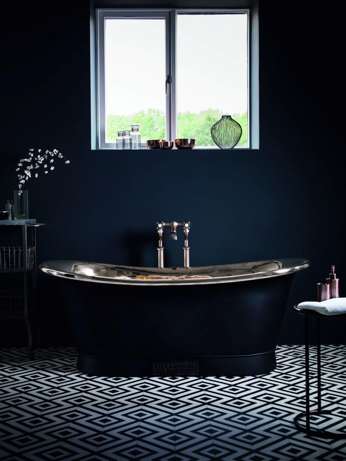 Salle de bain noire graphique