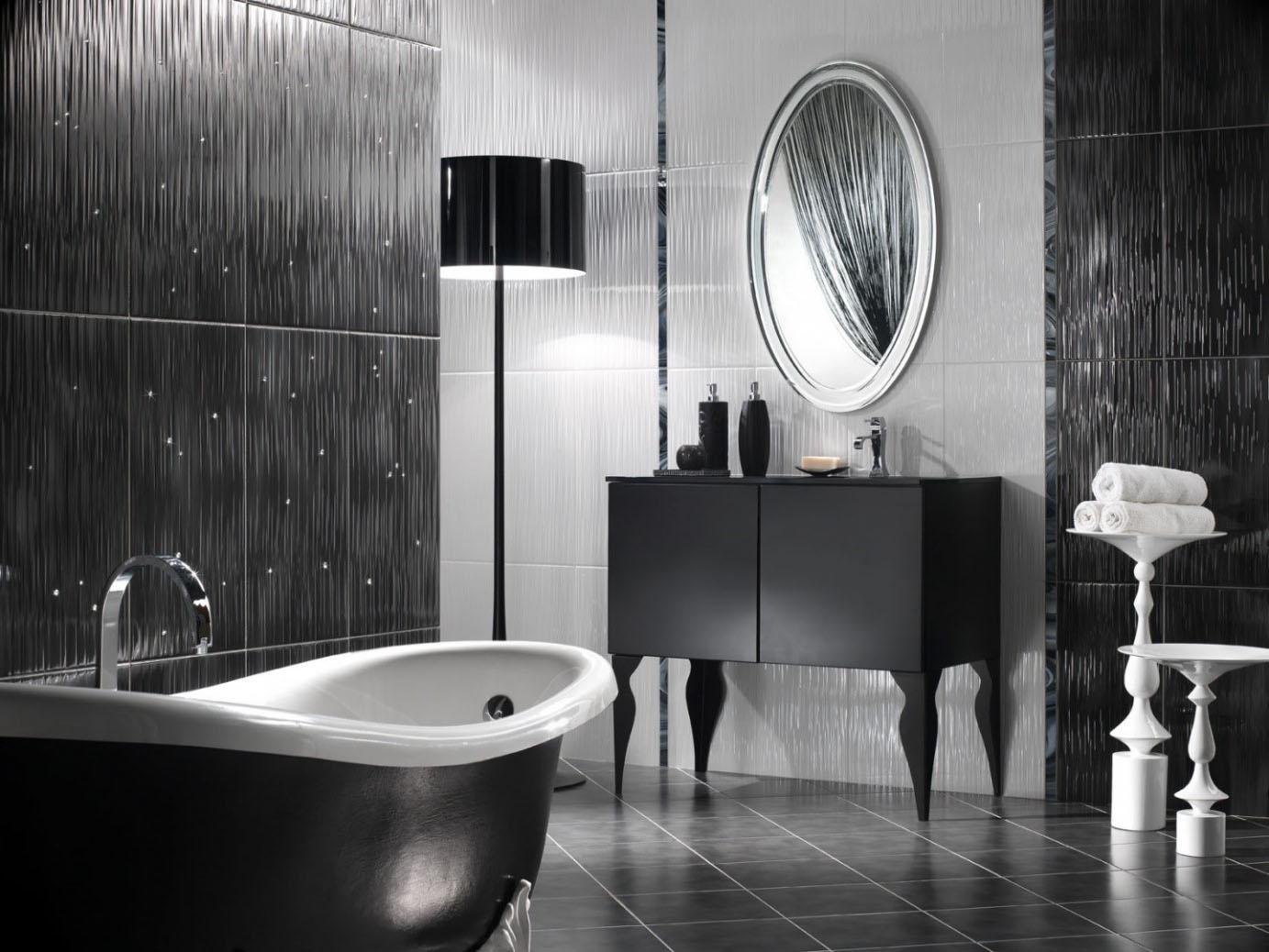Salle de bain noire texturée