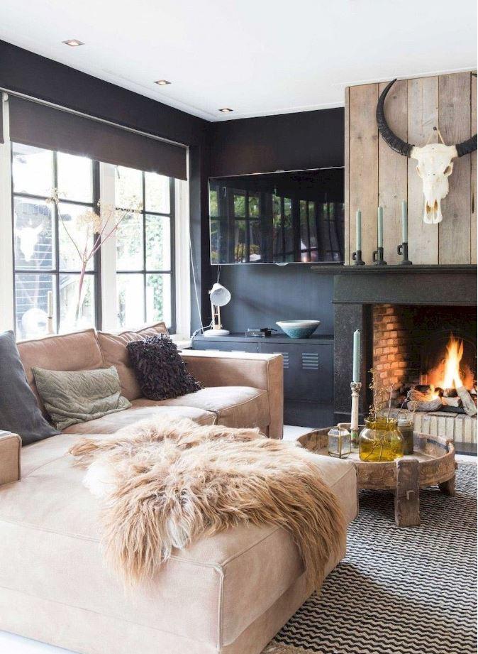 Salon autour de la cheminée