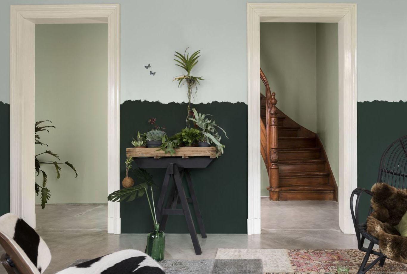 Salon deux teintes vert clair et foncé