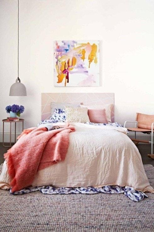 Tête de lit rose poudré