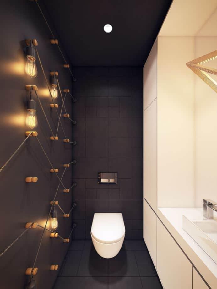 Toilettes avec luminaire sur mesure