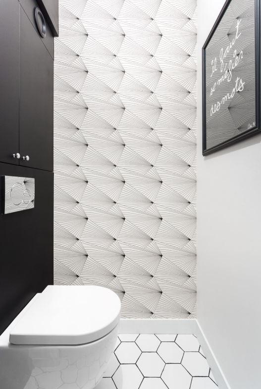 Toilettes graphiques en noir et blanc