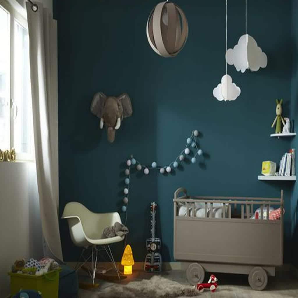 Chambre bébé taupe et bleu canard