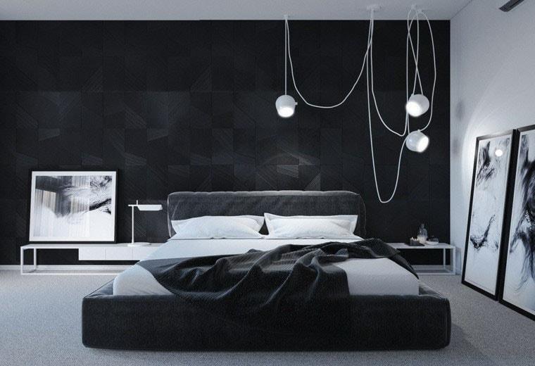 Chambre moderne 39 photos et id es pour trouver l - Chambre noir et gris ...