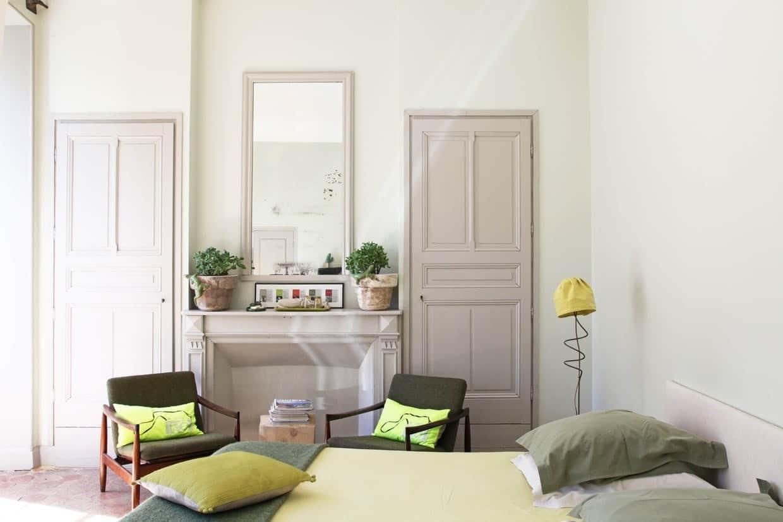 Chambre verte et lin
