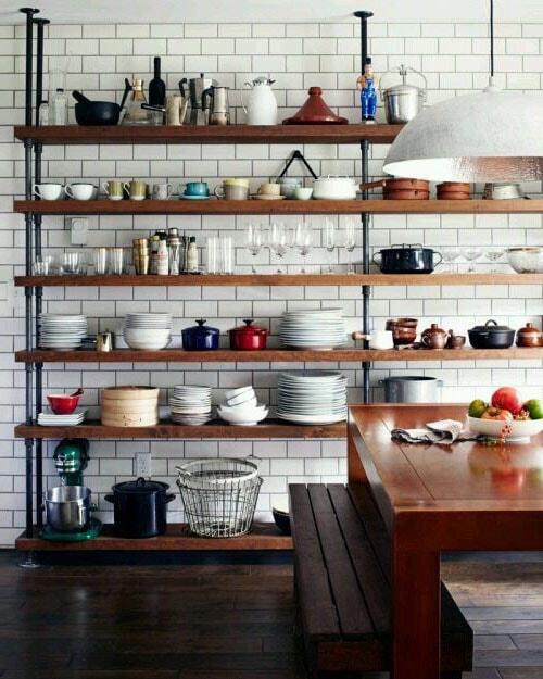 Rangements cuisine indus ouverts