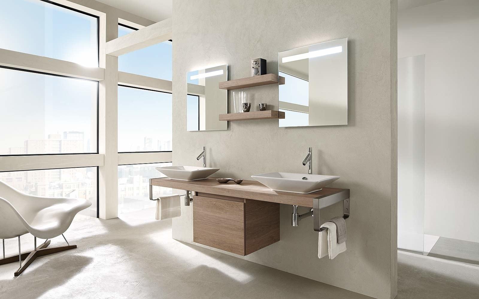 Salle de bain bois et lin