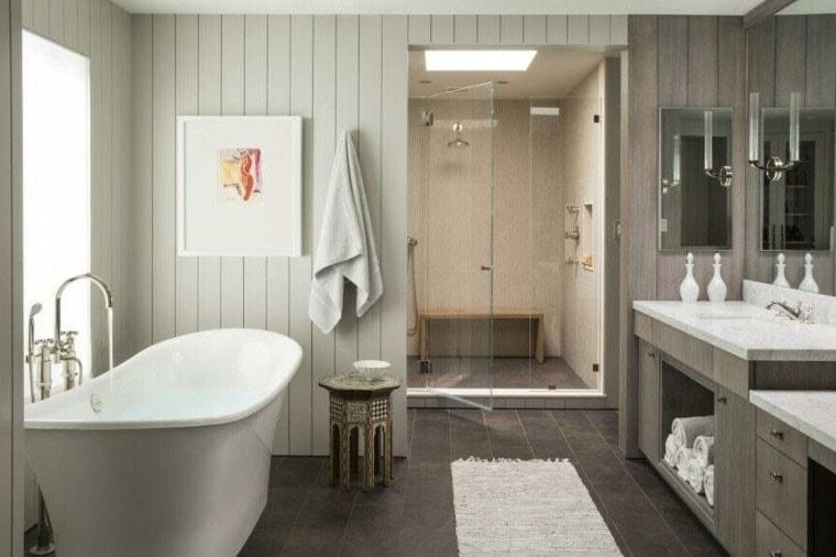 Salle de bain camaïeu taupe