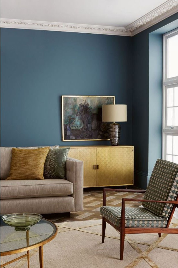 Salon dominante bleu et taupe