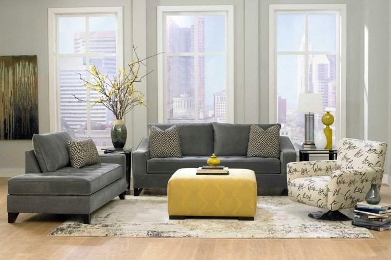 Salon moderne et jaune