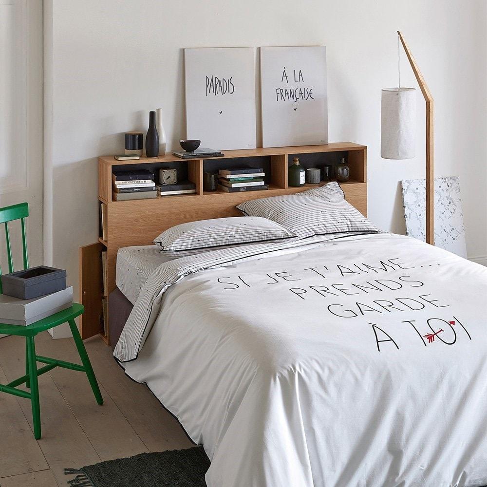 Tête de lit avec rangements fermés