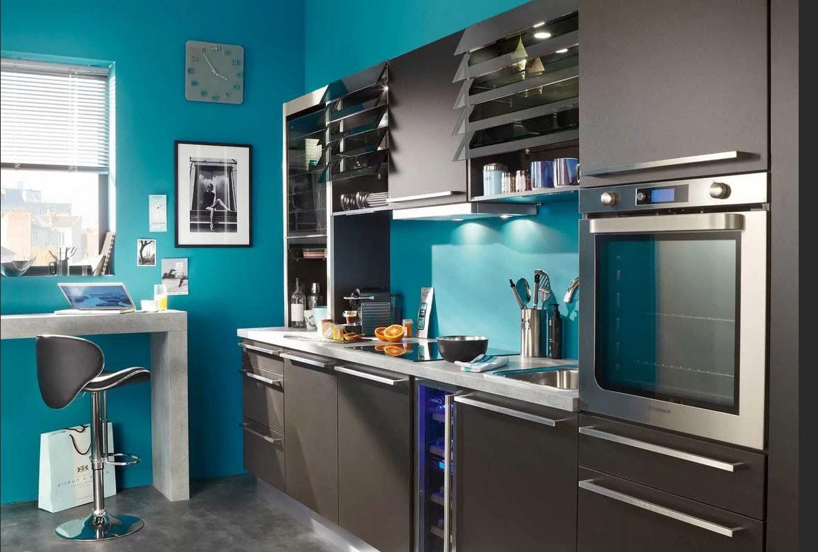 100 Fantastique Idées Cuisine Grise Et Bleu Turquoise