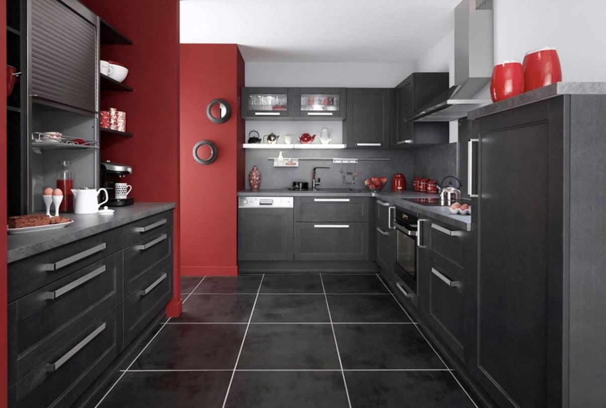 Beautiful Cuisine Gris Anthracite Et Rouge Images - House ...