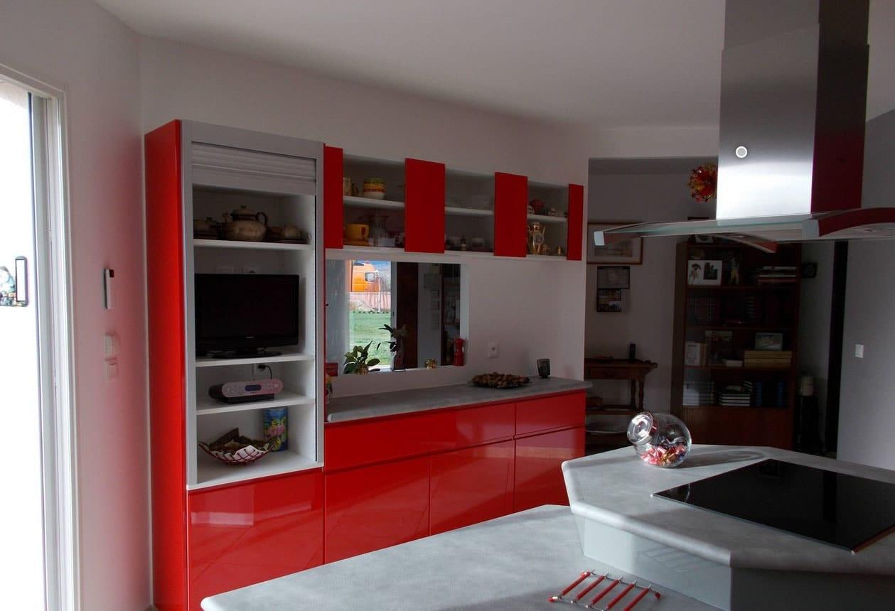 Cuisine Rouge Et Grise Moderne