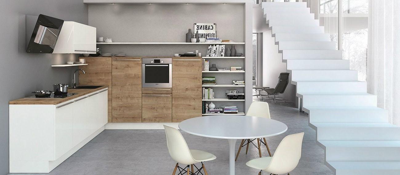 Petite cuisine blanche bois clair