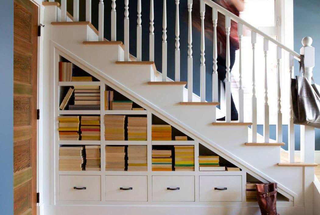 rangement sous escalier Placards Ouverts Et Fermés