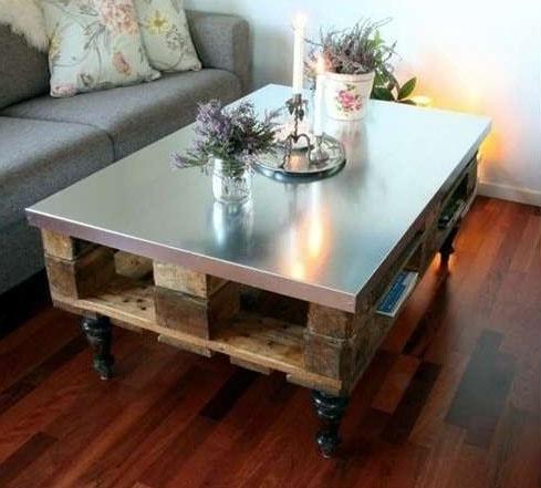 Table basse en palette Avec Top Métal