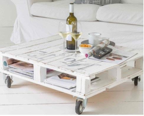 Table en bois de palette peinture Blanche