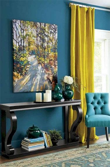 Jaune Moutarde associée avec bleu canard